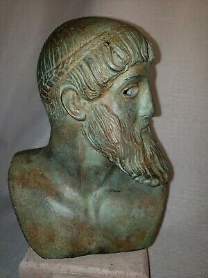 Greek Poseidon bust resin copy of ancient bronze museum reproduction on stone