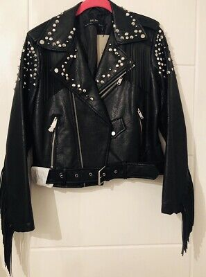 ea7a73ef Brand New With Tags Sold Out Zara Fringed Studded Faux Leather Jacket Small