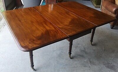 Antique, Late Georgian / Early Victorian Mahogany Drop Leaf Dining Table