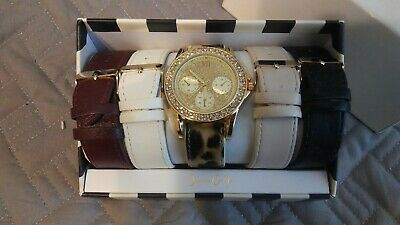Jessica Carlyle Gold Watch Set Interchangeable Leather Bands Leopard Rhinestones