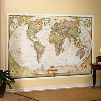 "World Mural Map National Geographic Antique-Style 116"" x 77"" Free Priority Mail"