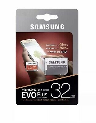 Samsung Micro SD Card SDHC EVO+ 95MB/s UHS-I Class 10 And Adapter 32GB New