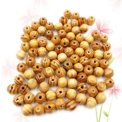 100X Beads Round Pine Wood Spacer Beads for Jewelry Making