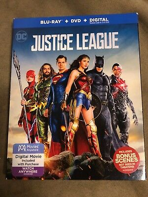 Justice League (Blu-ray/DVD, Digital, 2-Disc Set, 2018) NEW