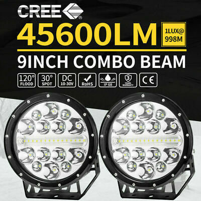 CREE LED Driving Lights Spotlights Round Combo 4x4 Offroad Truck SUV Pair 9inch