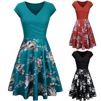 Women V Neck Floral Prints Cap Sleeve A-line Swing Casual Party Summer Dress