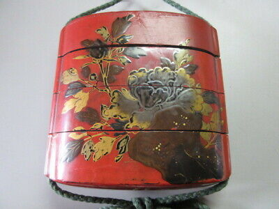Rare Wooden red Lacquer Makie butterfly Inro lion Netsuke Ojime Japanese antique