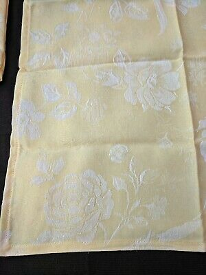 6 x Fabric Cloth Serviette Napkins 46 x 46cm Cafe Restaurant Retro Yellow Floral