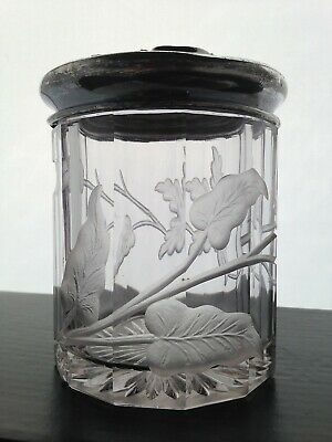Kruth Cut Crystal Intaglio Humidor Wallace Silver Co Deep Intaglio Lily & Leaves