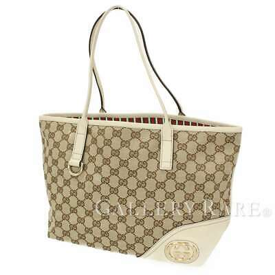 f9e532b6adbd GUCCI New Britt GG Canvas Leather Beige Ivory Tote Bag 169946 Authentic  5403509