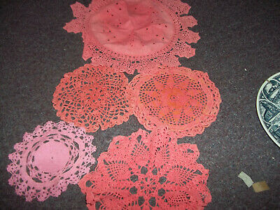 vintage doilies assortment peach 5 in lot sizes in inches 6,7,8,9,14