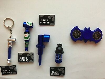Batman spinner 35 piece color blue smoking Tobacco hookah herb pipe kit USA