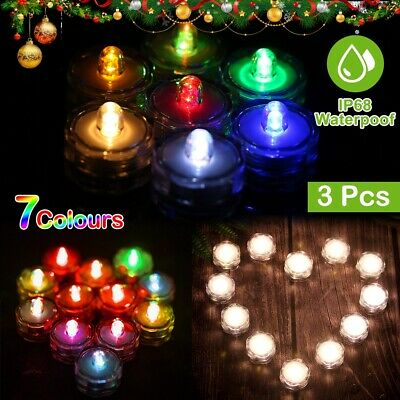 3-12 LED Candles Light Up Tea Lights Submersible Vase Wedding Party Fish Decors
