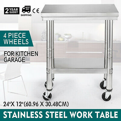 12x24 Stainless Steel Work Table 4 Casters Janitorial Room Food Prep Tables