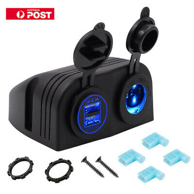 HOT 12V Car Boat Cigarette Lighter Socket Plug 4.2A Dual USB Port  Charger Power