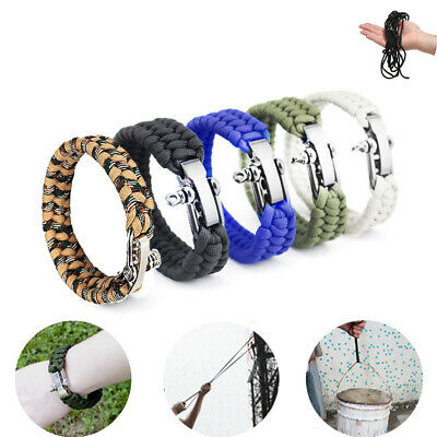 Camping Braided Cord Rope Wristband Paracord Survival Bracelet Outdoor Tools