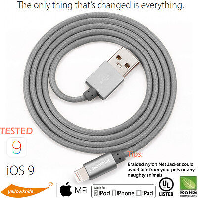 YELLOWKNIFE 1M Nylon Braided Lightning to USB Cable IOS12+ [Apple MFi Certified]