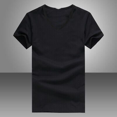 Summer Men's V Neck Cotton T-shirt Slim Fit Short Sleeve Sports Tee Black/White
