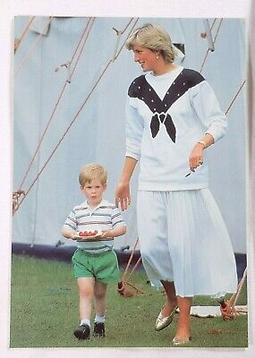Lady Diana Princess of Wales and Prince Harry Postcard Vintage Britain Royalty