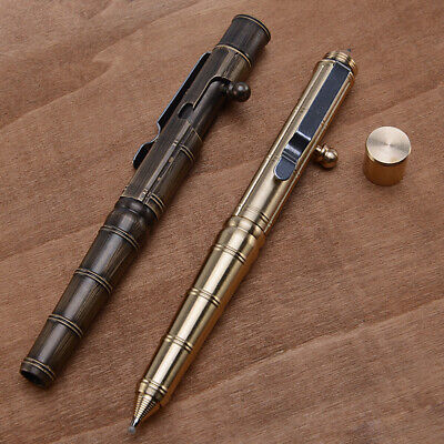 Retro Hand-Made Brass Pen Gun Shape Ballpoint Ball point Pen Gift Pocket Gel Pen