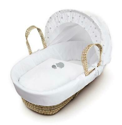 Kinder Valley Palm Moses Basket with Stand White 30cm H x 47cm W x 86cm L