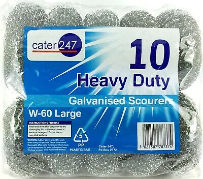 5 X 10 PK Cater 247 Large Heavy Duty Galvanised Scourers W-60