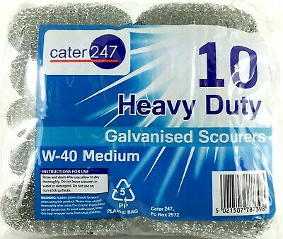 5 X 10 PK Cater 247 Large Heavy Duty Galvanised Scourers W-40