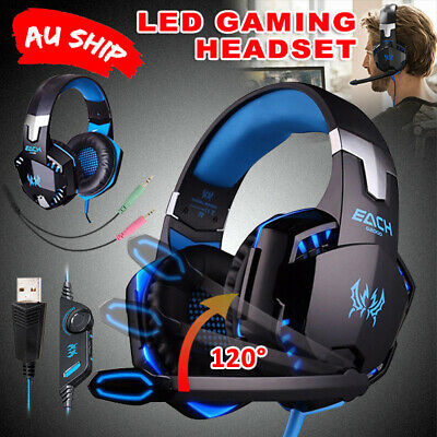 3.5mm Gaming Headset Mic LED Headphones Stereo for PC Mac PS4 Xbox One JD
