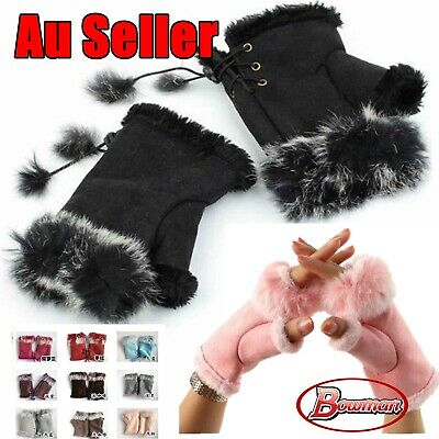 Faux Fur Winter Fashion Ski Warm Fluffy Fingerless Women Ladies Gloves Mittens