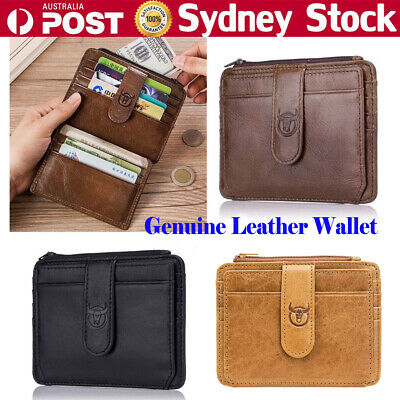BULLCAPTAIN Genuine Leather Mens Bifold Wallet RFID Blocking Anti Scan Zip Purse