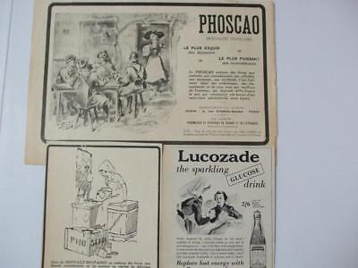 2 Wwi French Drinks Adverts Phoscao Cocoa + Lucozade