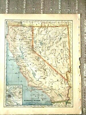 Vintage Color Map of California and Nevada Printed 1883