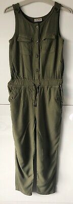 Next Khaki Girls Playsuit Jumpsuit Age 7 122cm 100% Viscose Excellent Condition