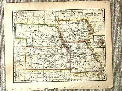 Vintage Color Map of the Central States - NE, IA, KS, MO Printed 1883