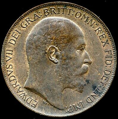 1910 PENNY Edward VII Almost Uncirculated Freeman 170