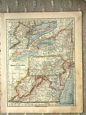 Vintage Color Map of the Middle States - PA, NY, WV, VA, MD, DE, NJ Printed 1883