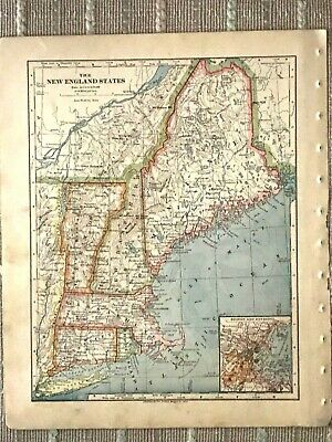 Vintage Color Map of New England States - ME, NH, VT, MA, CT, RI Printed 1883