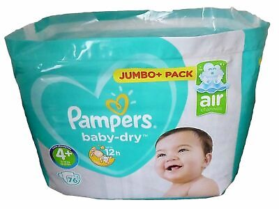 Pampers Baby Dry Size 4+ 10-15kg Jumbo+ Pack 76 Nappies - New