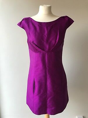 6072bb4d127dc Ladies OASIS Dark Cerise Pink Silk Dress Size 12 Pockets Party Races Wedding