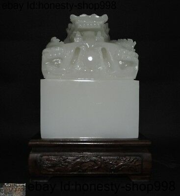 Chinese natural White jade stone carved Dragon animal statue seal stamp Signet