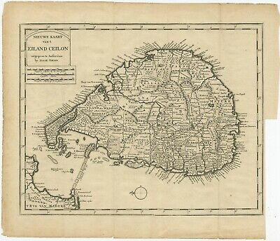 Antique Map of Ceylon by Tirion (1731)