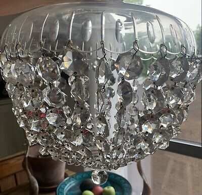 Large antique Art Deco Glass Crystal Drop Chandelier Light Hanging Lampshade