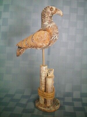 COASTAL ART DESIGNS Hand Carved Wooden Seagull on Piling