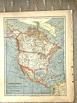 Vintage Color Map of North and Central America Printed 1883