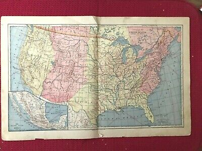 Vintage Color Commercial Map of United States, Canada and Mexico Printed 1883