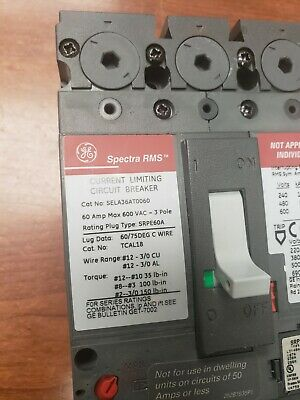 Sela36At0060 Ge New No Box 50 Amp Rating Plug Free Priority Shipping