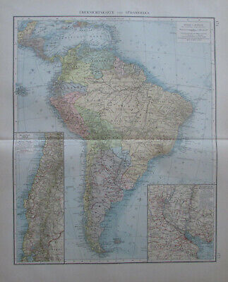 Südamerika South America alte Landkarte aus 1900 Andrees Handatlas old map
