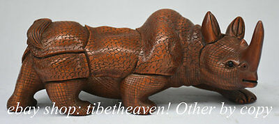 """8"""" Rare Old Chinese Boxwood Hand Carved Feng Shui rhinoceros Rhino Sculpture"""