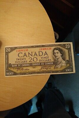 1954 $20 Dollar Bank of Canada Banknote HE1496156 Bright Crisp Miscut