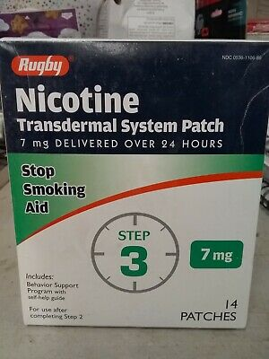 Rugby Nicotine Stop Smoking Aid Transdermal Patch Step 3, 7mg 14 Patches 12/2019